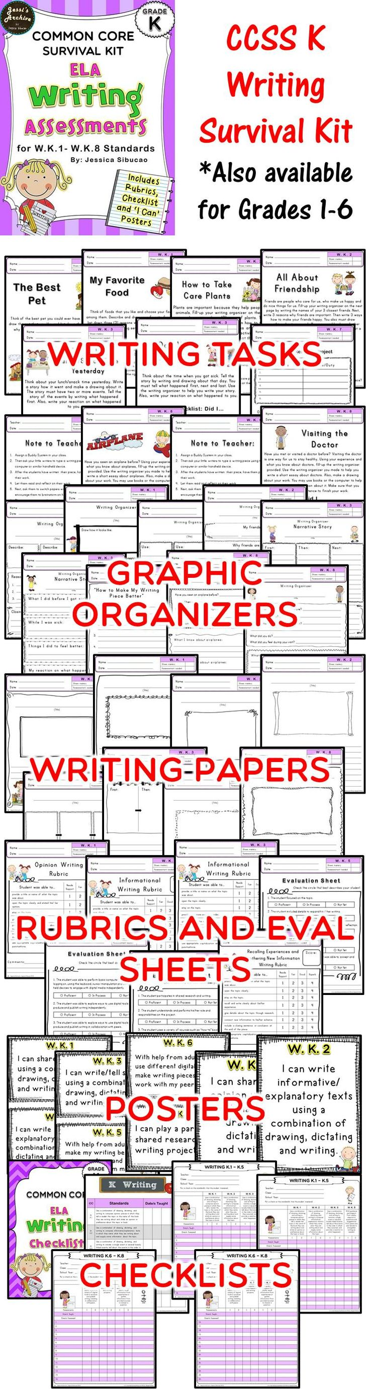 """This pack includes 2 assessments for each Common Core Writing standards. The assessments were carefully made to help you identify if the student mastered the standards or not. Rubrics, graphic organizers and writing paper were included to help you and your students organized. """"I Can"""" posters were also included to constantly remind the students what standards they are currently working on."""
