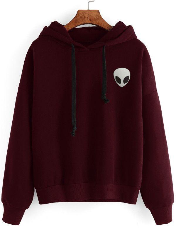 f22cf37b1a5 Drop Shoulder Alien Print Hoodie -SheIn(Sheinside). Maroon pullover hoodie.  Boho trends in fashion.
