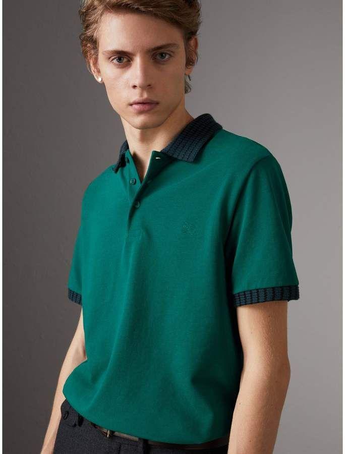 e06f6a4e61ed90 Burberry Knitted Detail Cotton Piqué Polo Shirt