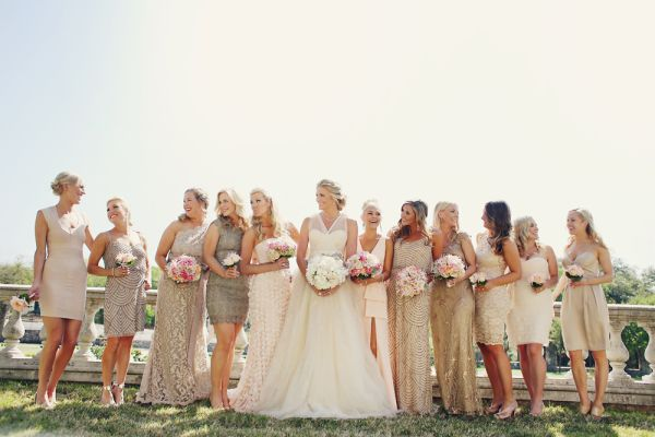 Gold and Taupe Bridesmaids Dresses | photography by http://www.dianamlottphotography.com/ and http://eclecticimagesphotography.com/ |