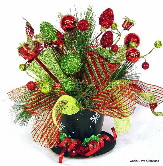 Top Hat Centerpiece Floral Arrangement Christmas Holiday red lime green Whimsical FUN Wedding reception design by Cabin Cove Creations