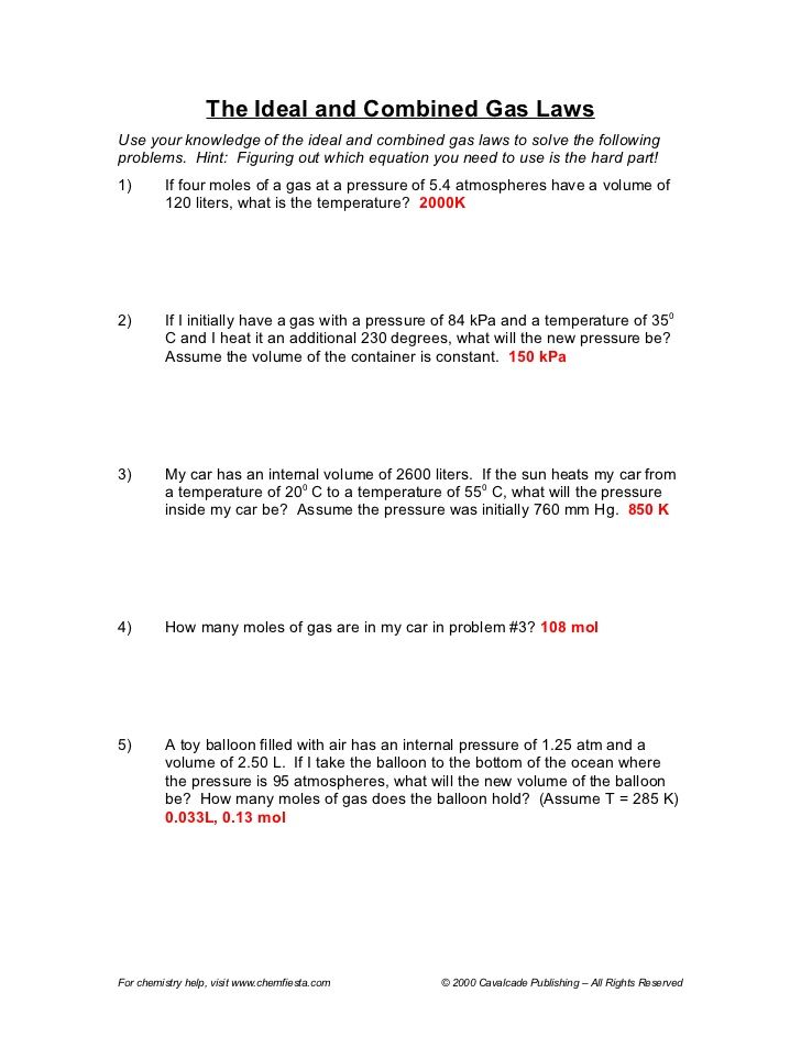 15 Best Images of Ideal Gas Law Worksheet Ideal Gas Law ...
