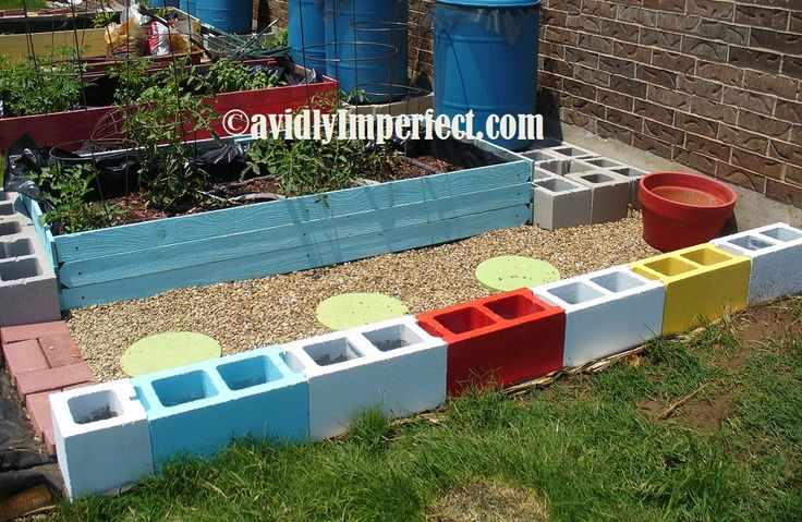 11 best gravel patios images on pinterest decks - Painting cinder blocks for garden ...