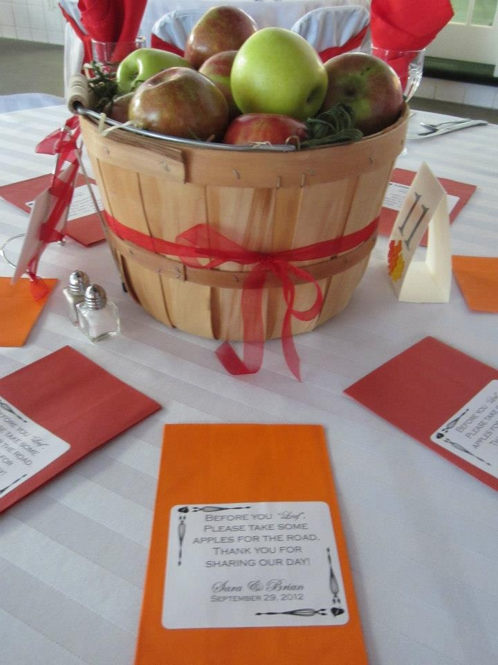 110 best wedding with apple theme images on pinterest weddings for a fall wedding fill basket most of the way with paper top with decorative fill add apples include a bag at each place so people can take the apples junglespirit Image collections