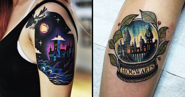 magic mystery and fascination can all be found within these spellbinding hogwarts tattoos. Black Bedroom Furniture Sets. Home Design Ideas
