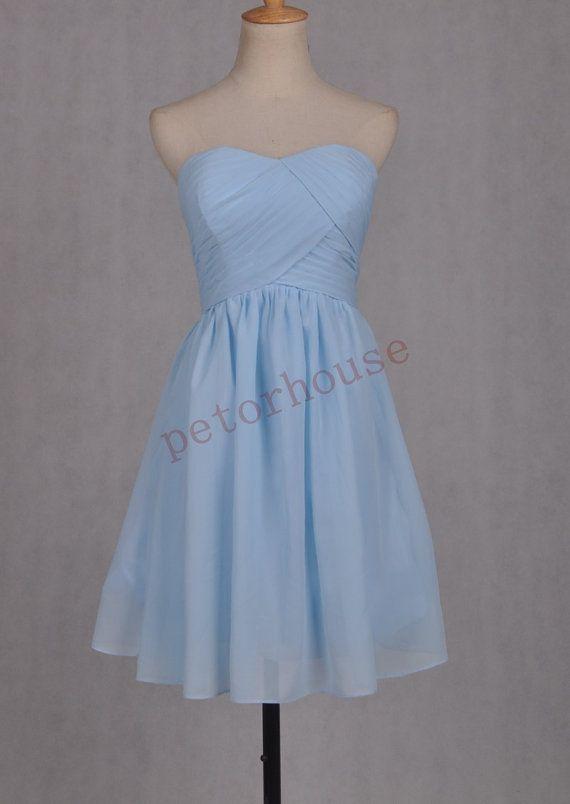 Light Blue Short Bridesmaid Dresses 2015 Cheap Prom by petorhouse