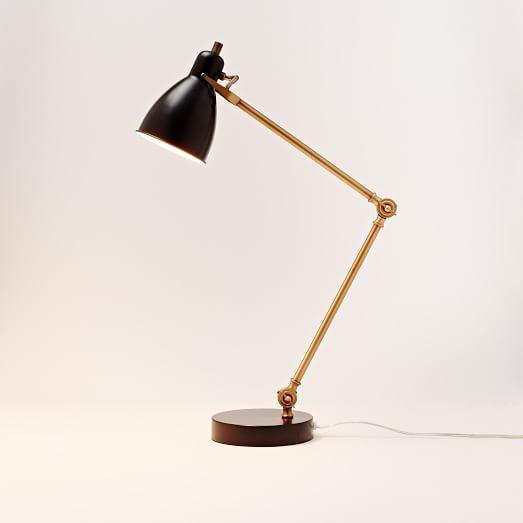 Industrial Task Table Lamp - Black + Antique Brass | west elm