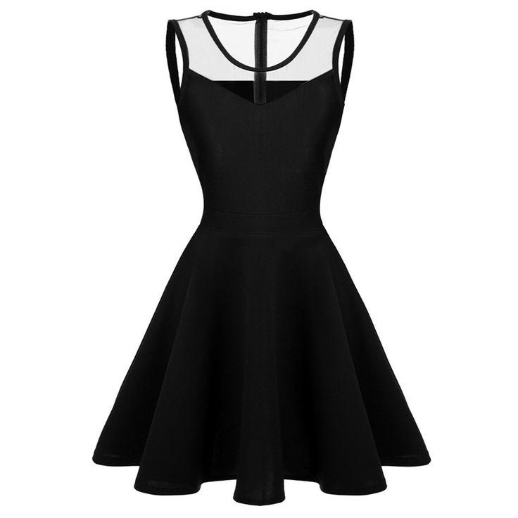 ACEVOG Vrouwen elegante jurken Zomer vestidos 2016 Sexy Lady 4 kleuren Mesh Hoge Taille Geplooide Casual Knielengte Swing Jurk in      van jurken op AliExpress.com | Alibaba Groep