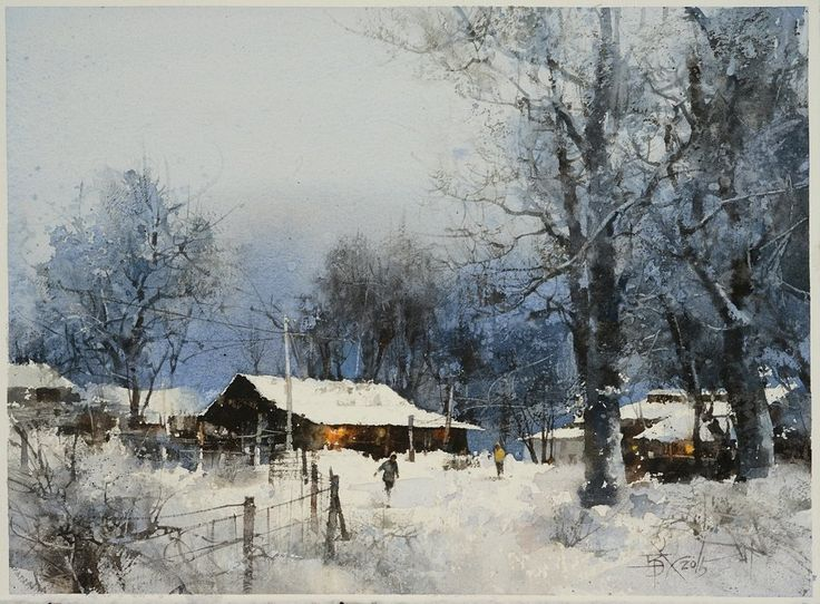 【Fall in love in Snow Village】Watercolour by Chien Chung Wei,27X37 cm