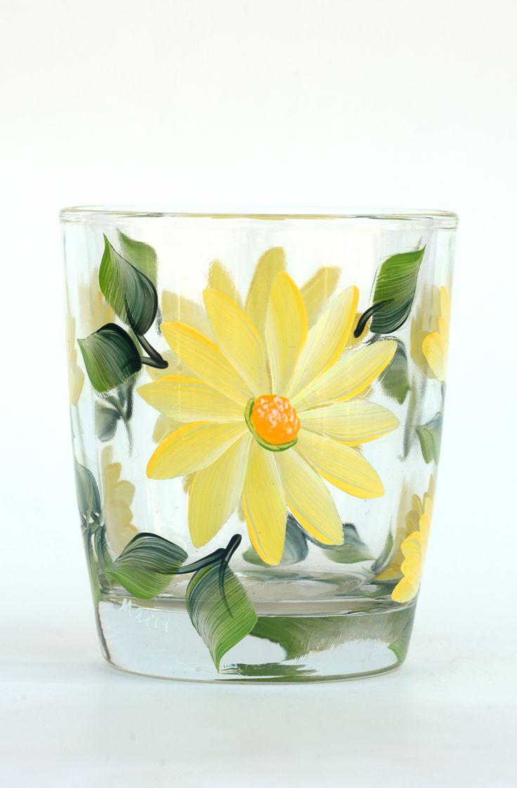 Yellow Daisies Rocks Glass