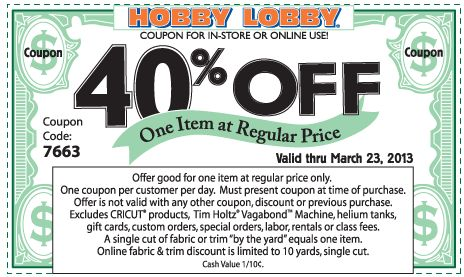 40%+off+a+single+item+at+Hobby+Lobby,+or+online+via+promo+code+7083+coupon+via+The+Coupons+App