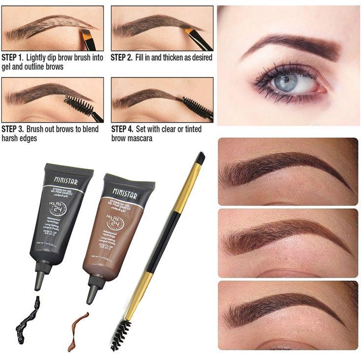 プロフェッショナルブランド化粧1ピースマスカラ用眉毛ペイントブラシ+ 2ピースブラウン防水色合い眉眉毛ヘナメイクセット
