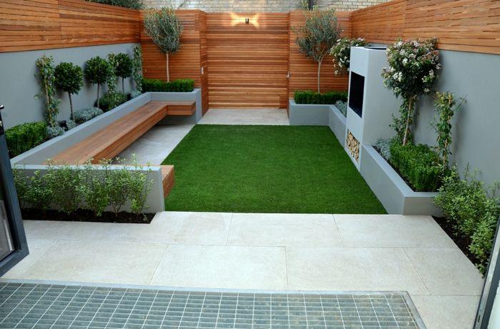 gartenideen für kleine gärten minimalistisch gras bodenfliesen sitzbank