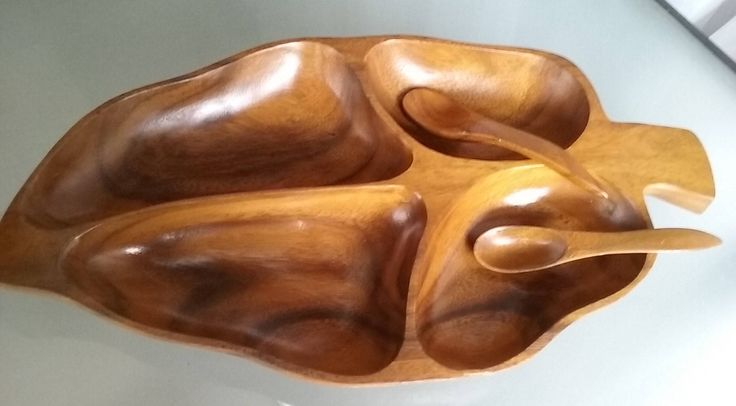 Monkey Pod Wood Banana Leaf Divided Serving Bowl with Spoons, Vintage Home Serving, Philippines, Mid-Century Modern Design, Snack Tray by VintageCoolETC on Etsy