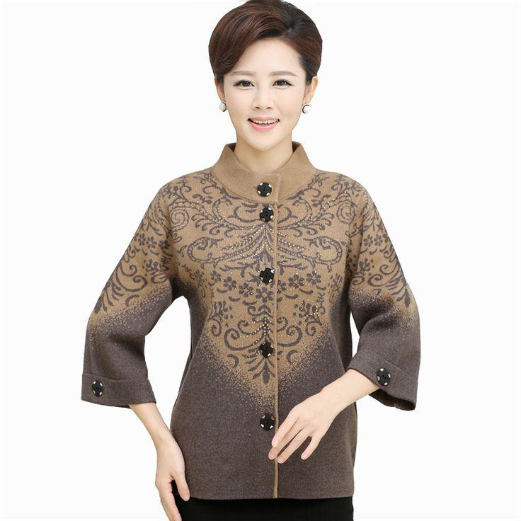 新しい女性の肥厚セーターの上着母第五スリーブカーディガンプラスサイズシングルブレスト女性ジャケット