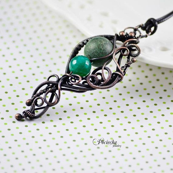 Green agate copper necklace agate wire wrapped bohemian