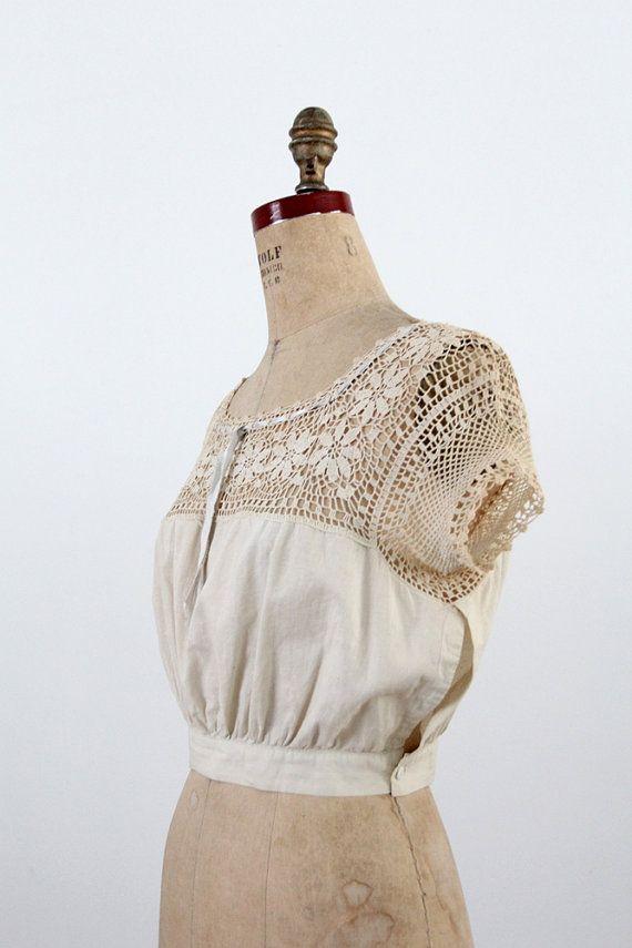 1900s Blouse / Edwardian Crotchet Lace Top by 86Vintage86 on Etsy