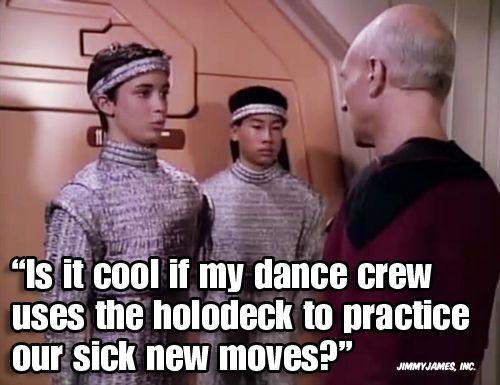 Awesome. (Jimmy James, Inc. via @wilw)Furious Funny, Dance Moves, Star Trek Humor, Dance Moving, Wesley Crusher, Trek Memes, Random Stuff, Stars Trek Humor, Trek Geek