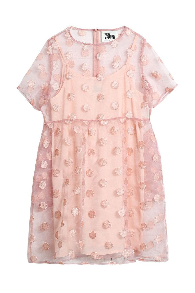 Organza Embroidered Polka Smock Dress Pink