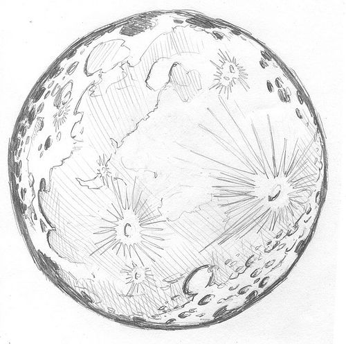 Moon pencil drawing by Ben Northern, via Flickr
