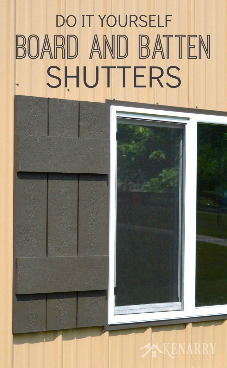 Follow this easy DIY tutorial for board and batten shutters to add rustic charm to any home or cottage. Use this method to build shutters of any size. - Kenarry.com