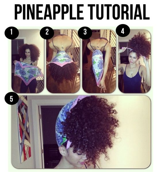 Pineapple Tutorial | SoVAiN. To have second day natural hair without wetting it. Huhh, I wonder if this will help keep my hair straight. I am sure hubby will love this look either way lol.