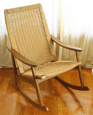 Vintage Rope Woven Wood Rocking Chair Hans Wegner Style