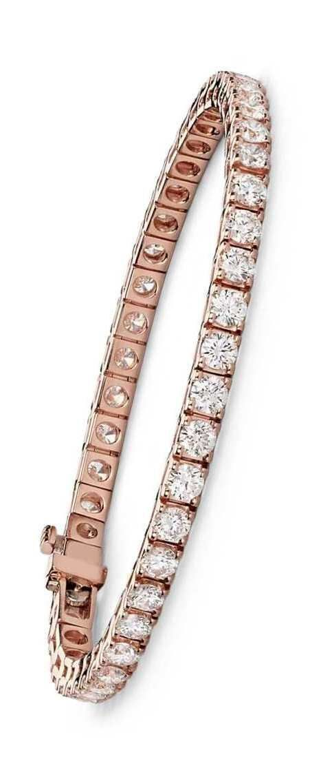 Flash some brilliance with this breathtaking seven carat tennis bracelet, showcasing dazzling round diamonds prong-set in complementing 14k rose gold.