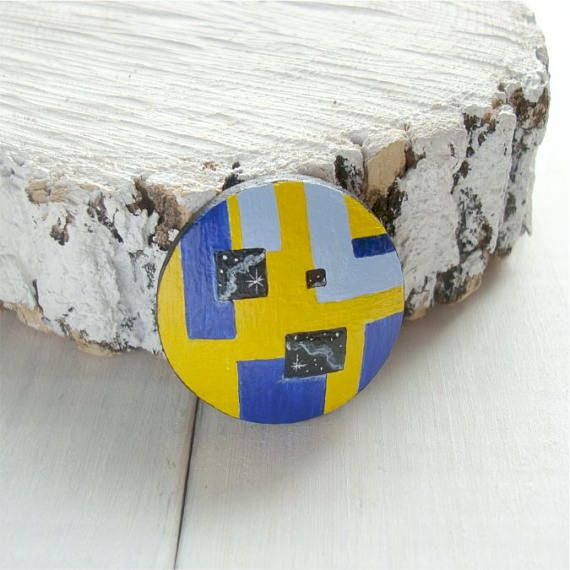 Wooden hand-painted brooch geometric shapes yellow and blue