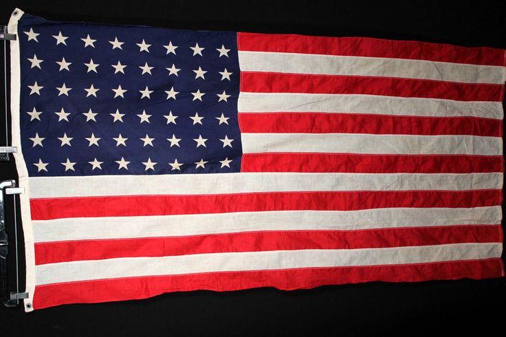 "$150 ebay VINTAGE 1940'S COTTON RELIANCE US 48 STAR FLAG PRINT STARS 33"" X 58"""