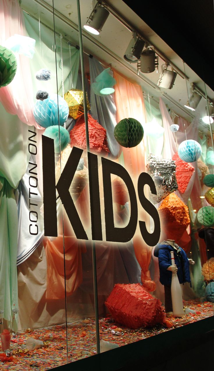 Colourful window display for Cotton On Kids, by RMIT University Visual Merchandising students.