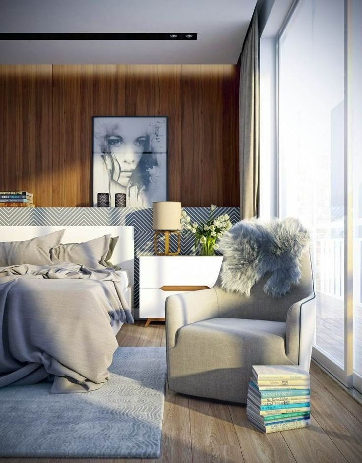 Holzwand für ein originelles Schlafzimmer Dekor
