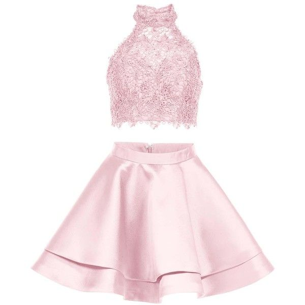 Alyce 3735 Prom ShortDress Mini Halter Sleeveless (£135) ❤ liked on Polyvore featuring dresses, blush pink, formal dresses, 2 piece prom dresses, pink prom dresses, formal cocktail dresses, two piece homecoming dresses and pink lace dress