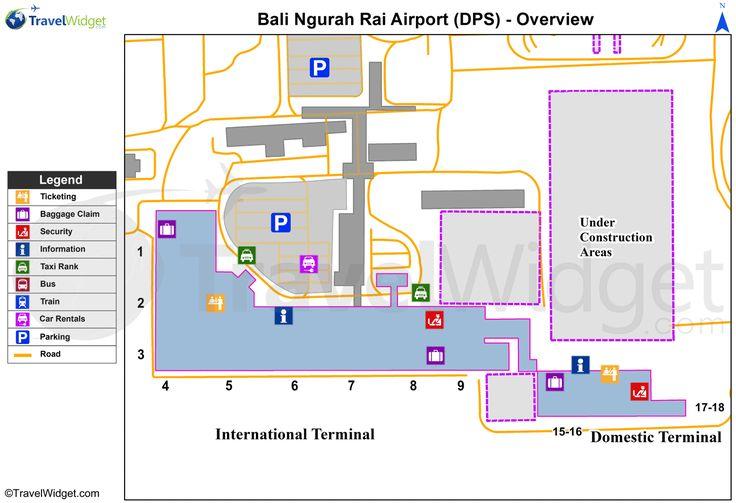 Denpasar-Bali Island - Ngurah Rai (Bali) International (DPS) Airport Terminal Maps - TravelWidget.com