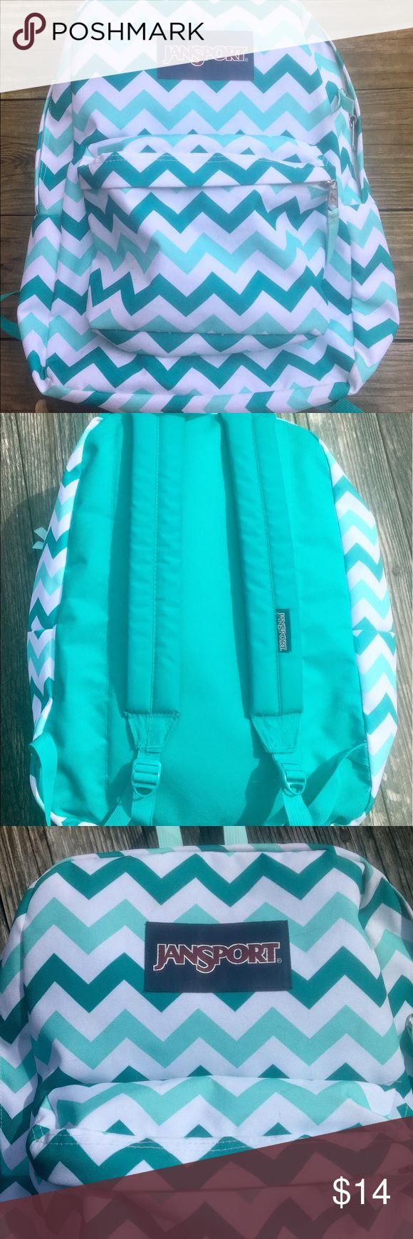 JANSPORT backpack JANSPORT  backpack. Green chevron pattern. Outside zippered pocket. Good condition, some pen and pencil marks, just throw in washing machine. See pictures. Jansport Bags Backpacks