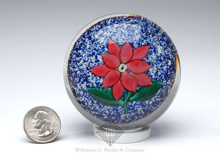 Antique Boston And Sandwich Poinsettia Paperweight, Boston and Sandwich Glass Works, Sandwich, Massachusetts, 1852-1888. Cylindrical with slightly concave base, red flower with green leaves on blue jasper ground, polished pontil scar, dia. 2 7/8 inches, ht. 2 inches; (light wear and scratches on dome). A lovely weight with the Nicholas Lutz white rose center cane. Generally fine condition. Property of The Strong, sold to benefit the museum's collections fund. #Paperweights #MADonC