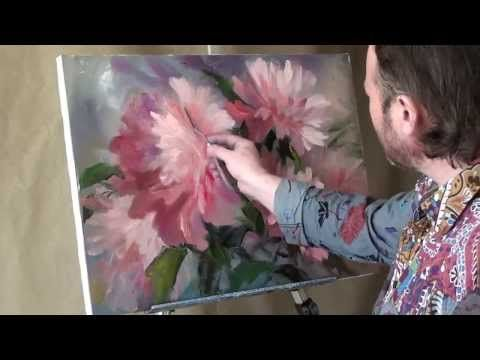 ПОЛНЫЙ урок И.Сахарова Цветы Маки Живопись мастихином Обучение живописи - YouTube