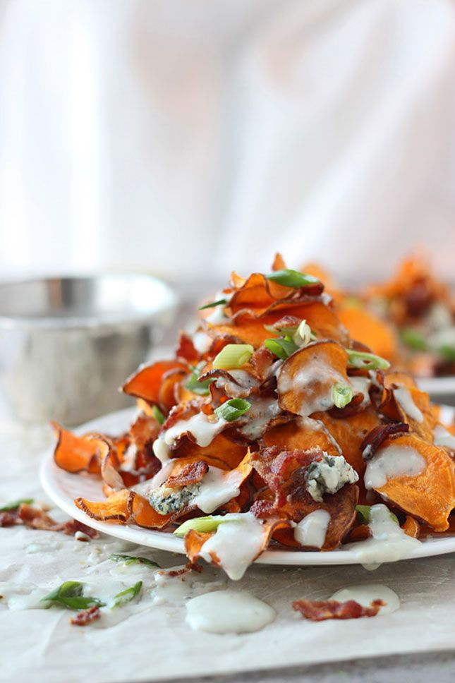 Baked Sweet Potato Nachos with Blue Cheese and Bacon.