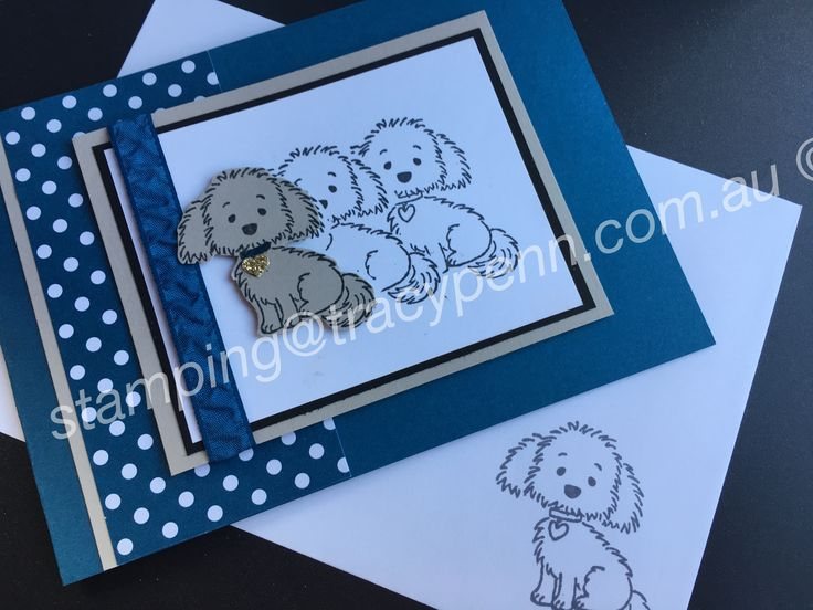 Bella & Friends by Stampin' Up!  Dapper Denim card and ribbon. Love this set!