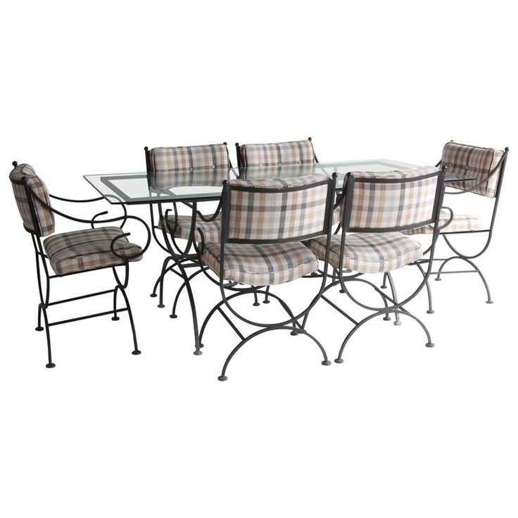 Vintage Black Metal Garden Table with Six Chairs Newly Upholstered in Plaid   1stdibs.com