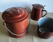 French Enamel Set,Enamel Pot,Enamel Milk Jug,Enamel Saucepan,Brick Glazed Ware,French Kitchenware,Shabby Chic Home Decor,French Farmhouse