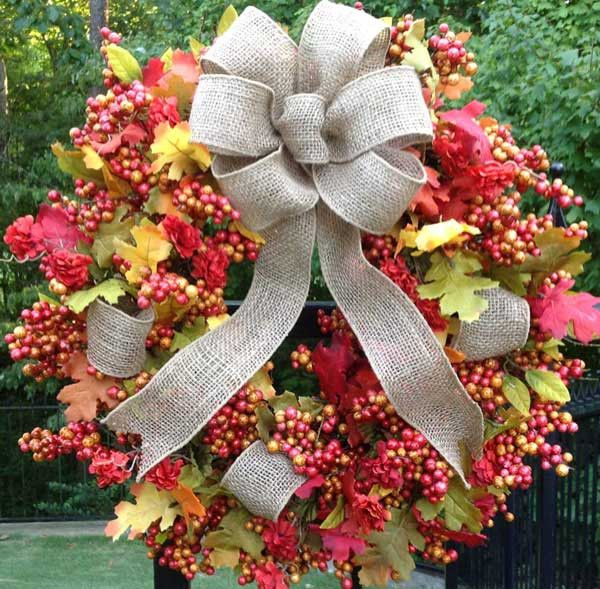 """- This Beautiful 24"""" Fall Wreath in Bittersweet with a Burlap Bow is a Weather Resistant Wreath that can be used Indoors or Outdoors - Sturdy Built Wreath on Grapevine Base that will Resist the Outdoo"""