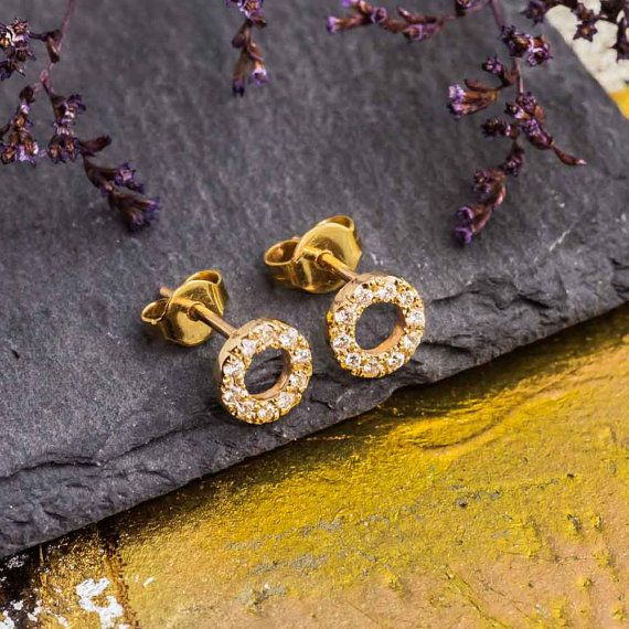 White Diamond Stud Earrings 14K Yellow Gold Stud by ZEHAVAJEWELRY