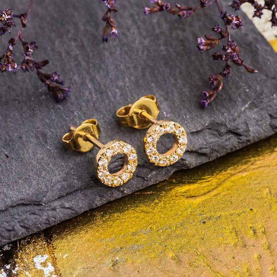 White Diamond Stud Earrings 14K Yellow Gold Stud by ZEHAVAJEWELRY