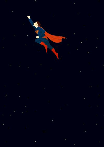 "SINGLE GIF: Oamul Lu / 卤猫.   ⚫ Superman flying through space.      (""GIF 