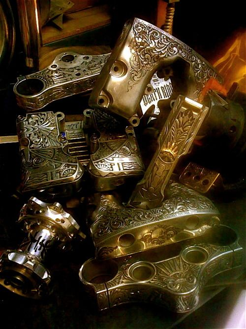 Engraved Motorcycle parts