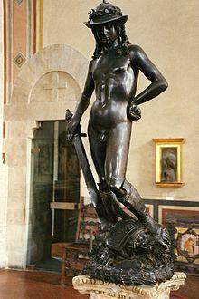 """David by Donatello, 1430s, bronze, 5' 2 1/4"""" H, Museo Nazionale del Bargello, Florence, Italy"""