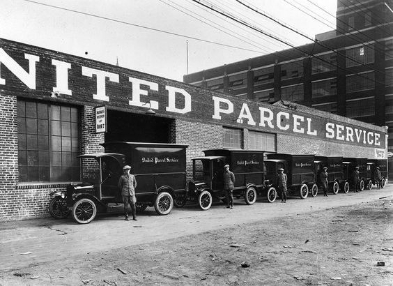 A UPS (United Parcel Service) centre and fleet of delivery vehicles