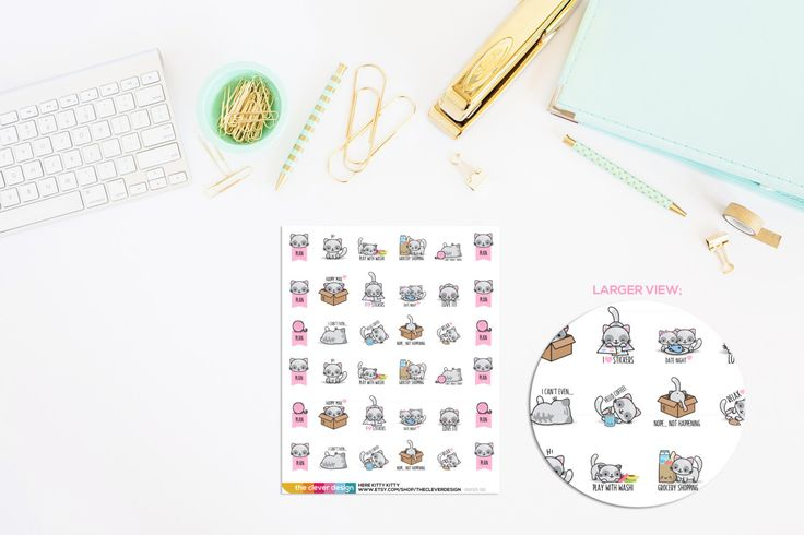 Here Kitty Kitty Emoticon Planner Stickers | Cat Emoticon Stickers | Cat Planner…