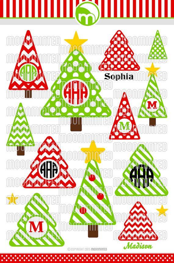 Christmas Tree SVG Cut Files - Monogram Frames for Vinyl Cutters, Screen Printing, Silhouette, Die Cut Machines, & More